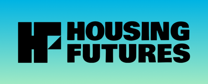 Blue logo with the words Housing Future in black