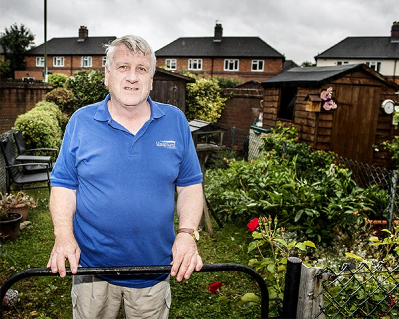 Resident Stephen Pugh in his garden